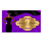 African American Hair Stylist Purple Gold Damask Business Card Template