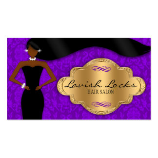 African American Hair Stylist Purple Gold Damask Double-Sided Standard Business Cards (Pack Of 100)