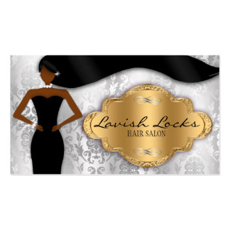 African American Hair Stylist Silver Gold Damask Business Cards