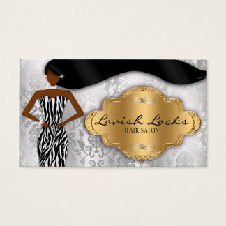 African American Hair Stylist Silver Gold Zebra