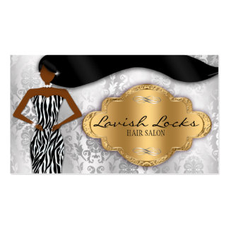 African American Hair Stylist Silver Gold Zebra Pack Of Standard Business Cards