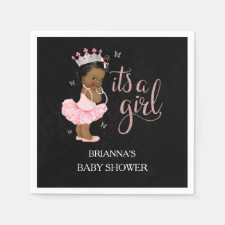 African American It's a Girl Baby Shower Napkin Disposable Serviette
