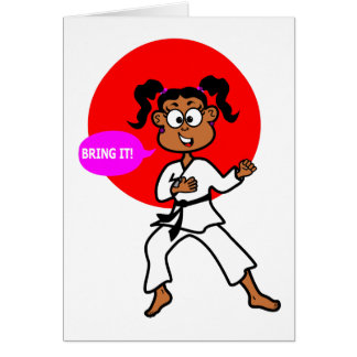 African American Karate Girl Blank Greeting Card