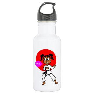 African American Karate Girl Water Bottle