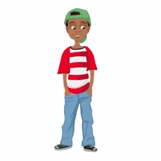 African American little cute cartoon boy Achai Pho Standing Photo Sculpture
