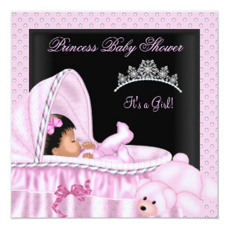 African American Little Princess Baby Shower Girl 13 Cm X 13 Cm Square Invitation Card