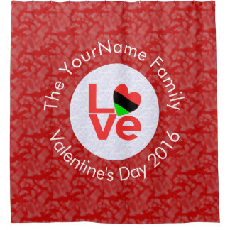 African American Love White on Red Shower Curtain