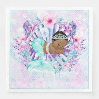 African American Mermaid Baby Shower Napkins Paper Napkins