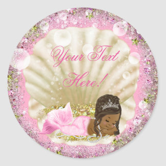 African American Mermaid Baby Shower Stickers