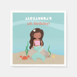 African American Mermaid Birthday Party Napkins Paper Napkins