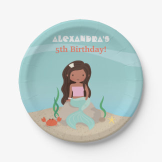 African American Mermaid Birthday Party Supplies Paper Plate