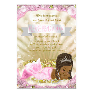African American Mermaid Bring a Book Baby Shower 9 Cm X 13 Cm Invitation Card