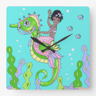 African American mermaid clock