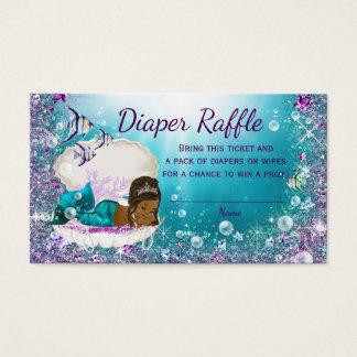 African American Mermaid Diaper Raffle Tickets