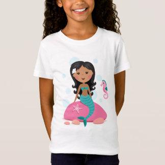 African American mermaid girl starfish seahorse T-Shirt