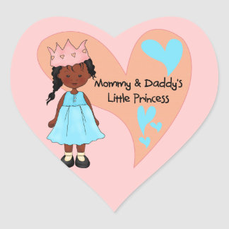 African American Mommy and Daddy's Princess Heart Sticker