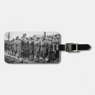 African American Office Inspects Troops Luggage Tag