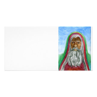 African American Old World Santa Photo Card Template