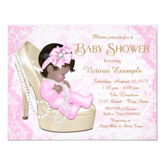 African American Pink Pearl Lace Shoe Baby Shower 11 Cm X 14 Cm Invitation Card