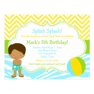 African American Pool Party Bash Party Postcard