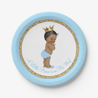 African American Prince Baby Blue Gold Baby Shower Paper Plate