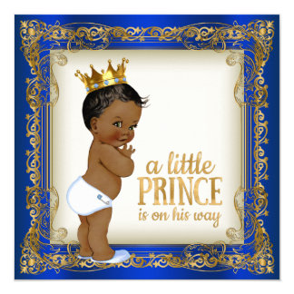 African American Prince Ethnic Boy Baby Shower 13 Cm X 13 Cm Square Invitation Card