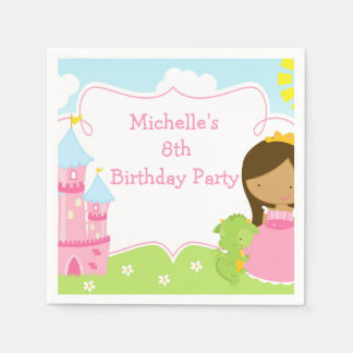 African American Princess and Dragon Birthday Paper Napkin