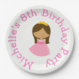 African American Princess and Dragon Birthday Paper Plate