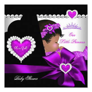 African American Princess Baby Shower Girl Purple 13 Cm X 13 Cm Square Invitation Card