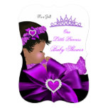 African American Princess Baby Shower Girl Purple 13 Cm X 18 Cm Invitation Card