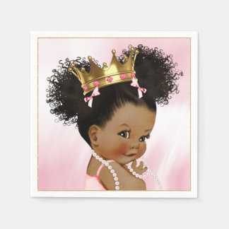 African American Princess Baby Shower Paper Napkin