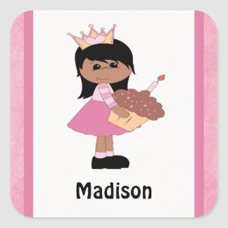 African American Princess Birthday Stickers