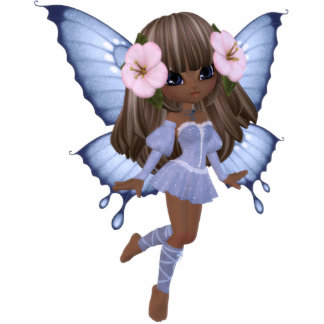 African American Princess Butterfly Magnet Standing Photo Sculpture