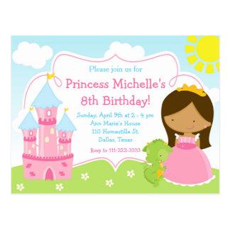 African American Princess & Dragon Birthday Invite Postcard