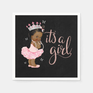 African American Princess Girl Baby Shower Napkin Disposable Napkin