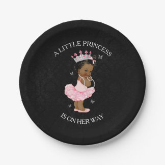 African American Princess Girl Baby Shower plates 7 Inch Paper Plate