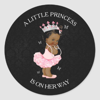 African American Princess Girl Baby Shower Sticker