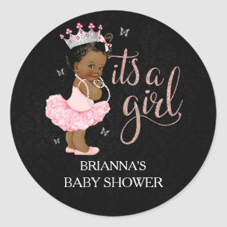 African American Princess It's a Girl Baby Shower Classic Round Sticker