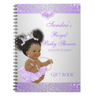 African American Princess Lilac Silver Gift Guest Notebook