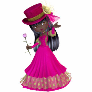 African American Princess Magnet Standing Photo Sculpture