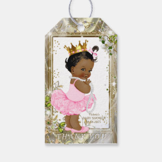African American Princess Pink Tutu Baby Shower Gift Tags