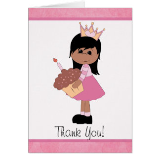 African American Princess Thank You Note Greeting Card