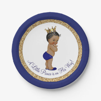 African American Royal Blue Prince Baby Shower Paper Plate