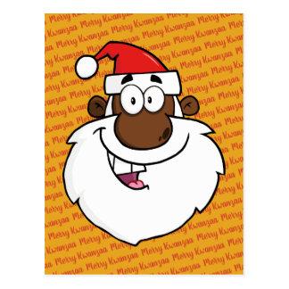 African American Santa Christmas Kwanzaa Greetings Postcard