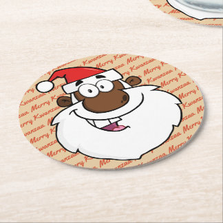 African American Santa Christmas Kwanzaa Greetings Round Paper Coaster