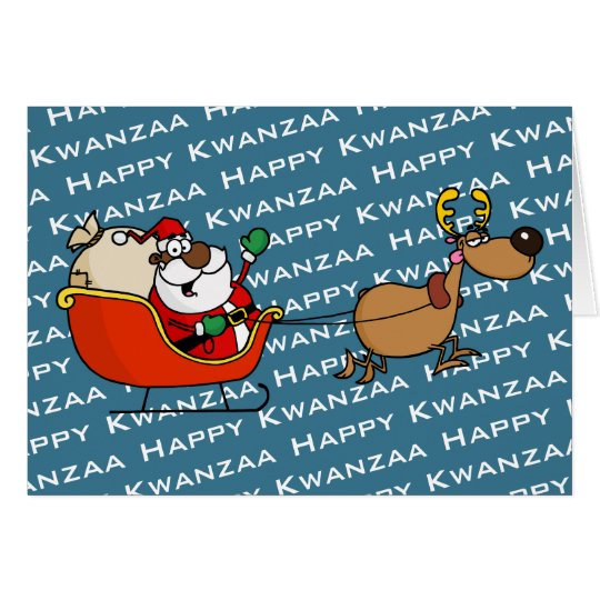 African American Santa Claus Kwanzaa Celebration Card