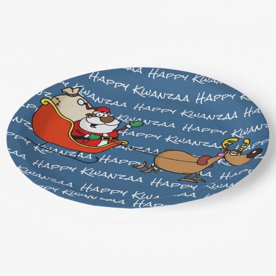 African American Santa Claus Kwanzaa Celebration Paper Plate