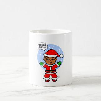 African American Santa Toddler Illustration Basic White Mug