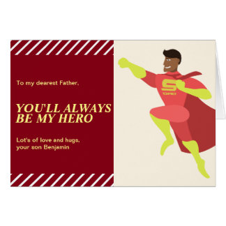 African American Super Hero Dad Happy Father's Day Card