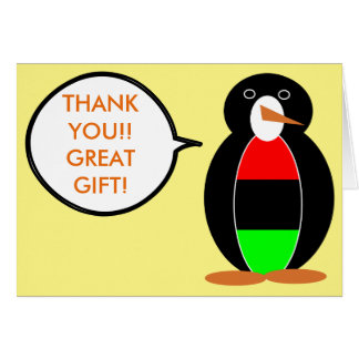 African American Talking Penguin Greeting Card